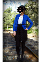 blue New York & Co cardigan - black Salvation Army skirt - beige crossroads top
