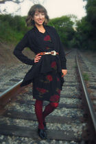 black H&M cardigan - black Self Made dress - black Steve Madden shoes - brown th