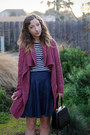 Pink-crossroads-sweater-black-vintage-bag-navy-diy-skirt