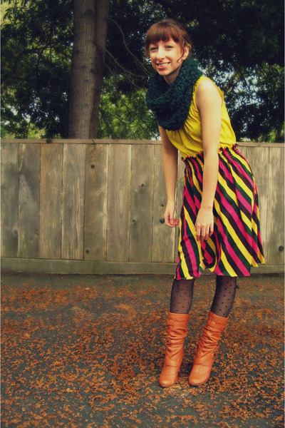 green self-made scarf - yellow Forever 21 top - pink self-made skirt - black New
