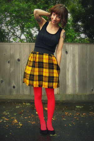 black DIY fringed top - yellow Self Made skirt - red We Love Colors tights