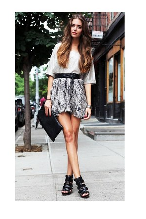 black gladiator wedges - floral skirt