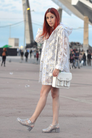 white rain Topshop coat - silver jellies JuJu shoes - white satchel H&M bag