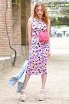 bubble gum Miranda for Lydia dress - periwinkle denim Zara jacket