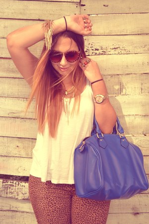 blue bag - bronze jeans - camel sunglasses - crimson sneakers - white blouse