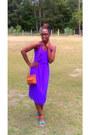 Purple-polyester-vintage-dress-thrifted-vintage-bag