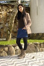 Light-brown-boots-light-brown-coat-brown-sweater-black-tights-navy-skirt