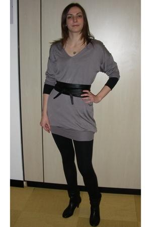 Zara dress - H&M - belt - Zara leggings -