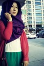 Green-dress-purple-scarf-ruby-red-cardigan-white-top-black-sneakers