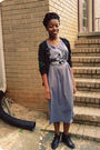 Gray-dress-black-jcpenney-shoes-black-target-cardigan-black-liz-claiborne-