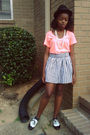 Orange-forever21-t-shirt-white-forever21-skirt-white-candies-shoes