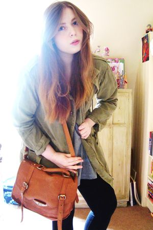 green Topshop jacket - silver Topshop top - brown asos accessories - black Topsh