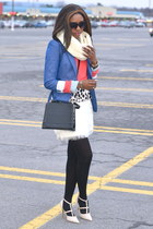 coral sweater - blue H&M blazer - periwinkle shirt - black tights - beige pumps