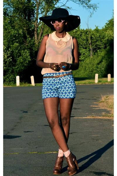 blue cotton spandex Dalia Collection shorts - neutral lace socks