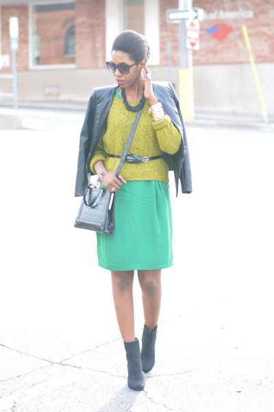 green pencil skirt H&M dress - black suede H&M boots