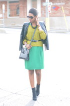 green pencil skirt H&M dress - black suede H&M boots