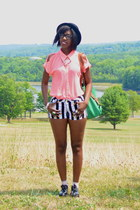 white jeans GoJane shorts - black patent leather H&M shoes - black H&M hat