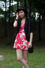 Red-forever21-dress-black-cotton-on-blazer-black-forever21-hat-brown-mondo