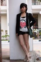 black blazer - white Forever21 top - black Forever21 shorts - beige Charles & Ke