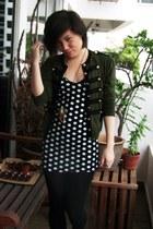 black Keds shoes - black polka dotted random brand dress - navy Forever 21 socks