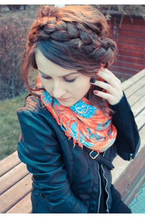 black jacket - ruby red scarf