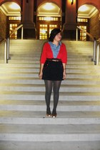 blue Fossil blouse - red American Eagle sweater - blue Tommy Hilfiger skirt - gr