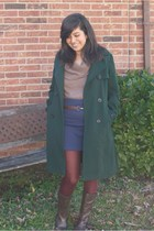 green Gap coat - brown Old Navy sweater - blue Urban Outfitters skirt - brown Be