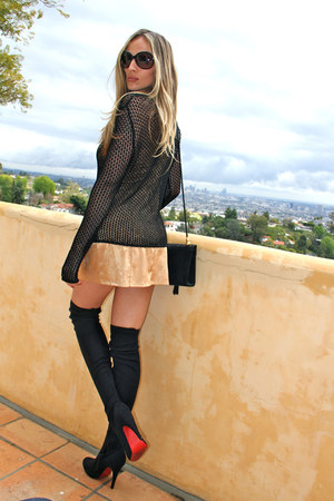 black crochet Vtg sweater - black suede Louboutins boots