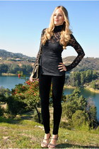 velvet Alice & Olivia leggings - lace turtleneck BCBG top