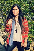 pleather Dailylook leggings - Forever21 shirt - stripes Gap cardigan
