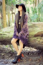 deep purple kimono Nasty Gal cardigan - black high low Forever 21 dress