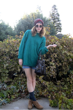 thrifted sweater - ruby red abercrombie and fitch scarf - DIY shorts
