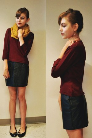 crimson sweater - gold scarf - black faux leather Forever 21 skirt