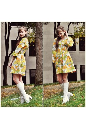 vintage dress - white go go boots boots - olive green earrings