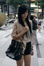 Black-bag-heather-gray-shirt-black-shorts-maroon-sandals-nude-cardigan
