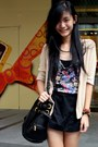 Black-bag-black-skirt-navy-floral-print-top-nude-cardigan