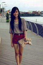 shorts - bag - belt - top - necklace - sandals