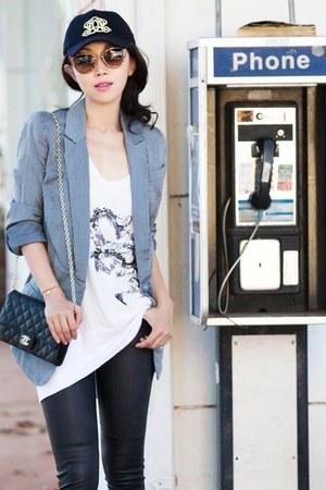 JCrew hat - navy hat - blue blazer - black purse - Miu Miu sunglasses