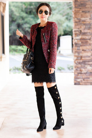 Zara blazer - Valentino boots - dvf dress - ray-ban glasses