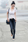 Anine-bing-jeans-dark-gray-jeans-light-pink-top-wildfox-t-shirt