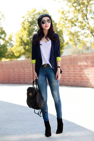 Sheinside blazer - Alexander Wang boots - Anine Bing jeans