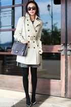 JCrew dress - Burberry coat - kate spade heels