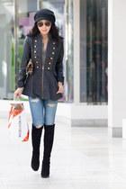 BCBGeneration coat - stuart weitzman boots - Current Elliott jeans