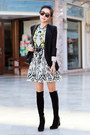 Stuart-weitzman-boots-juicy-couture-dress-bcbg-max-azria-blazer