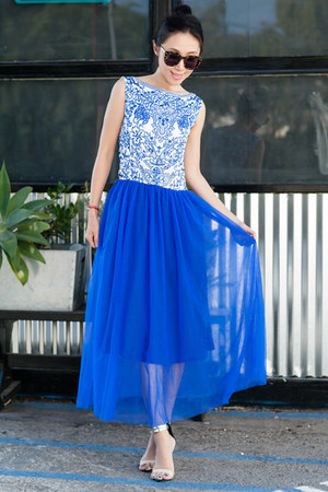 blue dress - Karen Walker sunglasses - Tibi sandals - eggshell heels