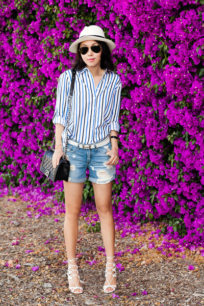 Front Row Shop shirt - JCrew hat - rag & bone shorts