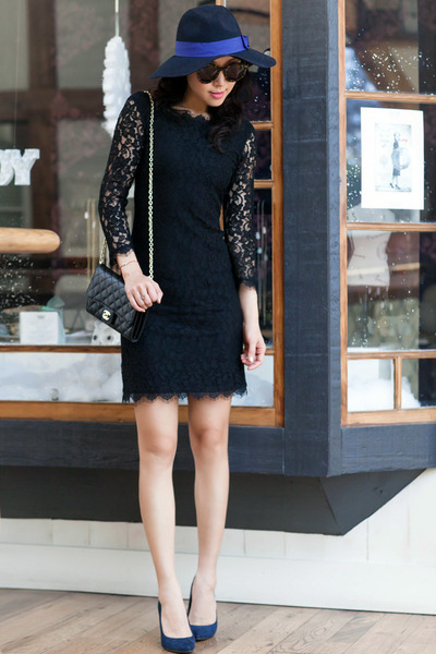 dvf dress - Anthropologie hat - Loft heels