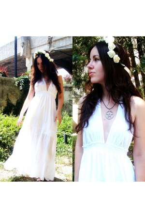 white vintage dress - white white roses LouLouLovesYou accessories