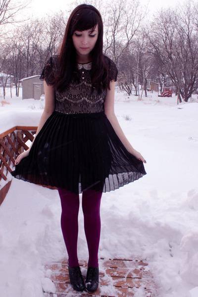 magenta We Love Colors tights - black miss patina dress - black Aldo shoes