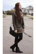 charcoal gray Steve Madden boots - light brown Forever 21 jacket